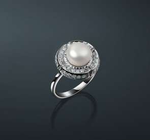 скидка Серебряное кольцо с жемчугом фианиты к-5035  белый пресноводный  жемчуг 19eb8ecc45be6