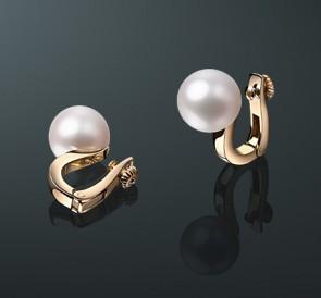 Золотые серьги с жемчугом (клипсы) ск-04с  белый пресноводный жемчуг, золото d8c34e3fa51
