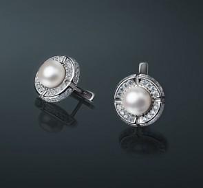 Серебряные серьги с жемчугом фианиты с-5035  белый пресноводный жемчуг,  серебро 925° 5a8a32463cd