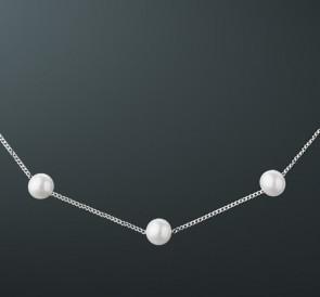 скидка 15% Колье из жемчуга ц-8505-40с  белый пресноводный жемчуг, серебро  925° 3970092d19b