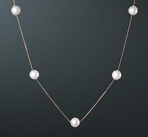 скидка Колье из жемчуга к5-104-40з  белый пресноводный жемчуг, золото 585° d66d89e6c61