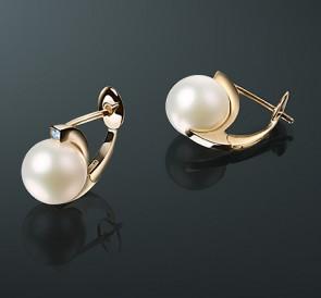 скидка Серьги с жемчугом бриллианты с-17с  белый пресноводный жемчуг, золото  585° 918deb1bbcd