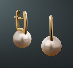 c46d10f7dbae скидка Золотые серьги с жемчугом сп-63жб  белый пресноводный жемчуг, золото  585°