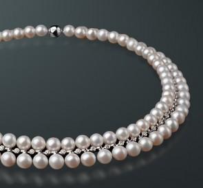 скидка Ожерелье из жемчуга MAYSAKU-45  белый пресноводный жемчуг, золото  585° ab7cae75465