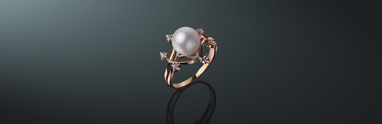 47ac814590d1 скидка Кольцо с белым пресноводным жемчугом класса ААА (высший)  золото  585˚, 6