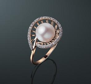 Кольцо из натурального жемчуга с золотом